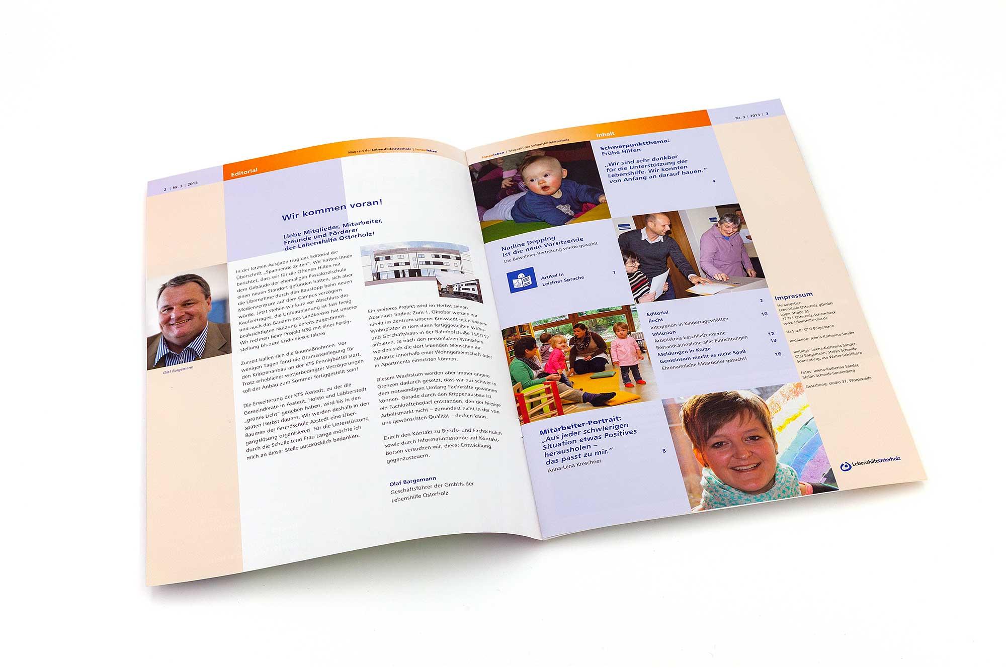 Doppelseite mit Editorial und Inhaltsverzeichnis