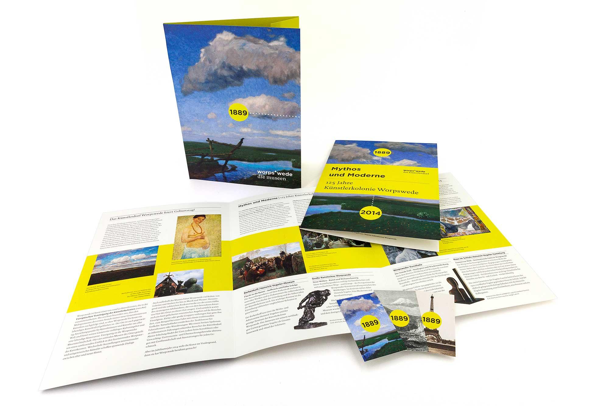 Pressemappe, Prospekt und Visitenkarten für die Jubiläumsausstellung